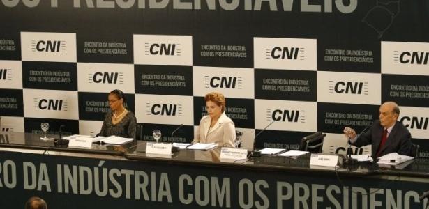 Candidatos participam de sabatina realizada pela Confederação Nacional da Indústria (CNI), em Brasília