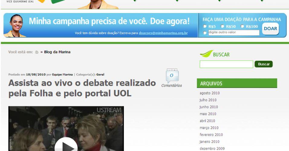 Site de Marina Silva