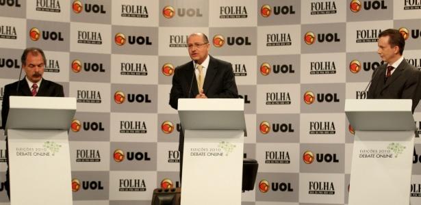 Candidatos durante debate Folha/UOL ao governo do Estado de SP