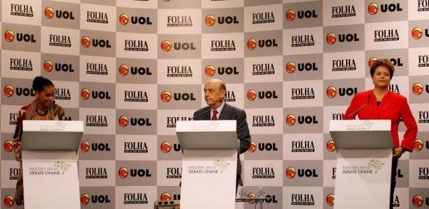 Candidatos durante debate Folha/UOL