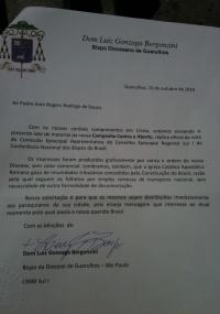 Carta assinada por Dom Luiz Gonzaga Bergonzini